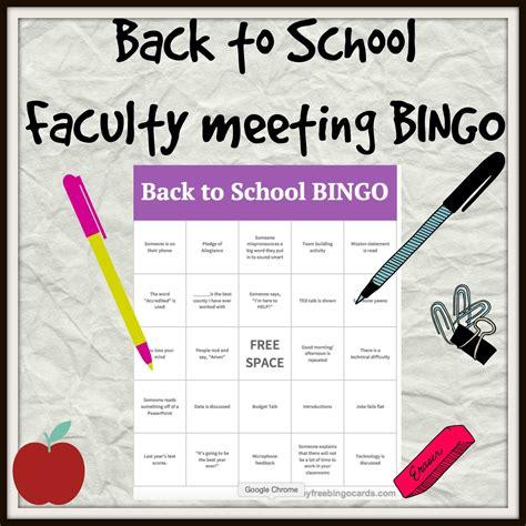 faculty meeting   school bingo