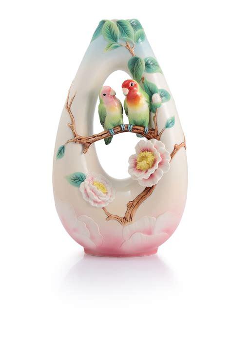 franz porcelain vase franz porcelain sweet partners rosy faced lovebirds vase