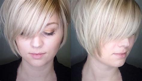 Women's Polished Blonde Stacked Bob With Side Swept Bangs