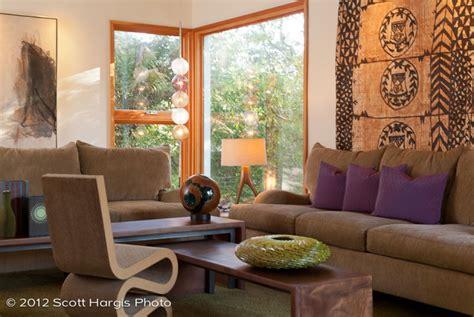 warm modern  living room samoan tapa cloth resin