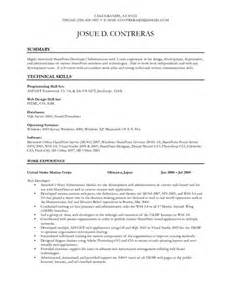 sharepoint developer resume sle moss developer resume pdfsr