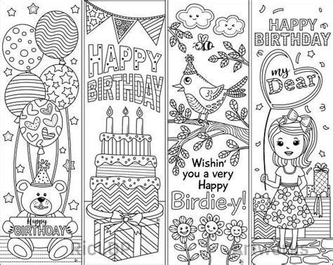 Set Of 4 Birthday Coloring Bookmarks