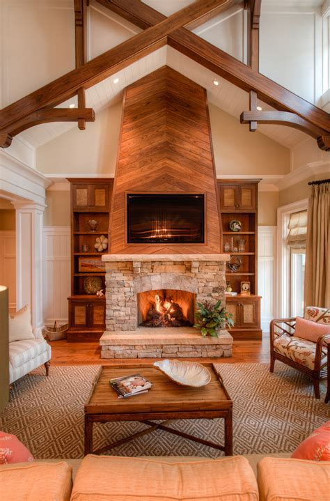 fireplace ideas stone Living Room Traditional with aspens