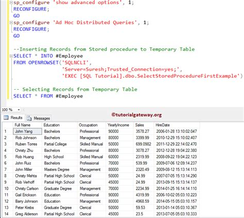 how to use temp table in sql server how to insert stored procedure result into temporary table