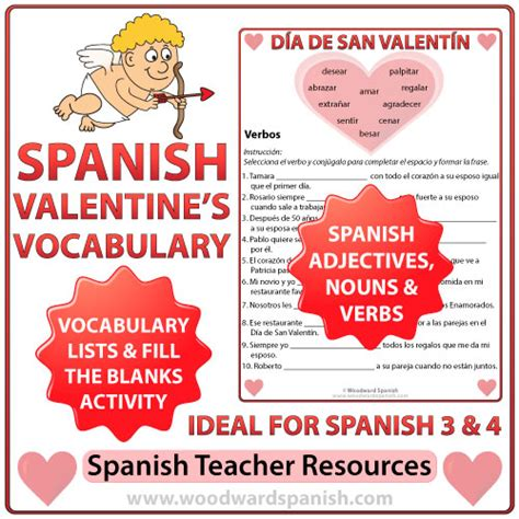 spanish valentine s day vocabulary and fill the blanks