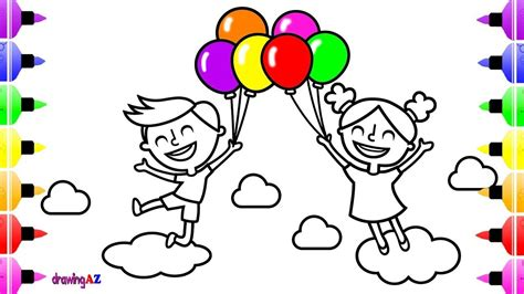 boy  girl play  balloons coloring pages kids