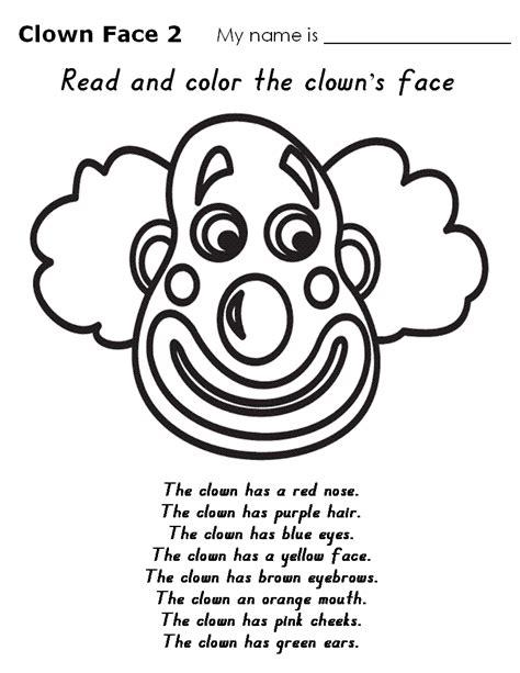 clown worksheets predilection clown faces