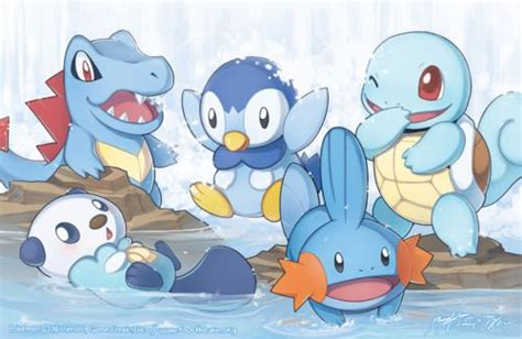 Cute Pokemon Mudkip,oshawott,totodile,piplup And Squirtle