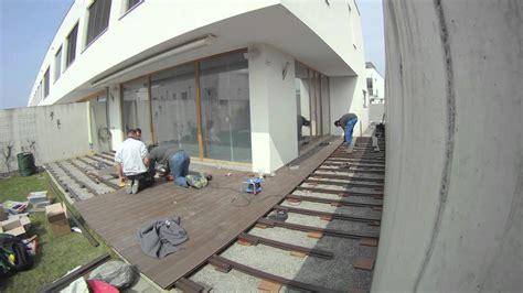 aufbau wpc terrasse terrassenbau mit wpc zeitraffer