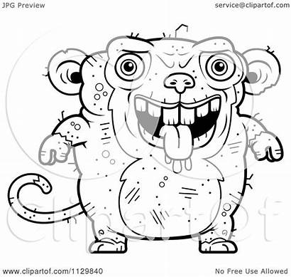 Ugly Monkey Drooling Cartoon Coloring Outlined Clipart