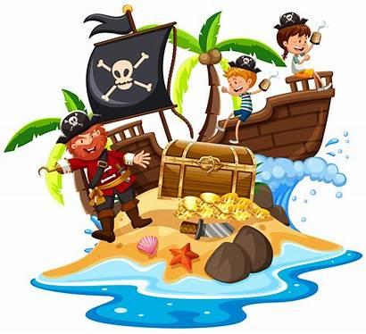 Pirate Island Vector Happy Illustration Ship Dreamstime