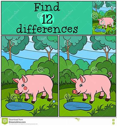 Differences Children Games Pig Pond Forest Smiles