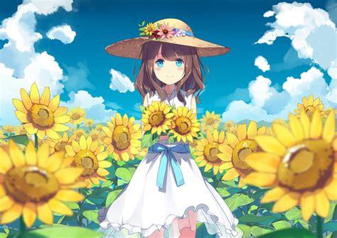 Summer Anime Wallpaper - wallpaper anime sunflowers field land summer