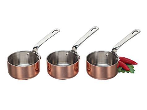 scanpan maitre  copper set   mini saucepans chefs complements
