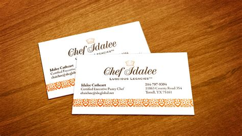 Chef Idalee Business Card Portrait Artist Business Card Application For Iphone Design App Ios Avery Template Libreoffice Art Consultant Label Code Nail Psd Software Windows 10