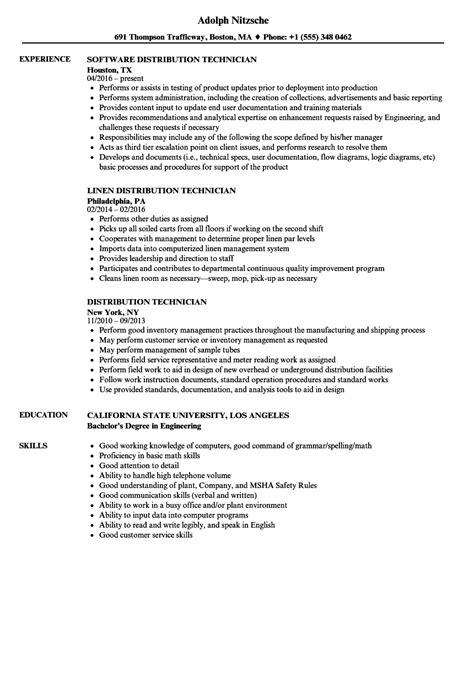distribution technician resume sles velvet