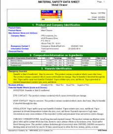 MSDS SDS Sheets Example