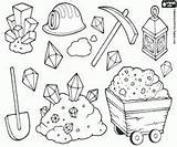 Mining Coloring Pages Gold Rush Panning Tools Colouring Miners Crafts Street Miner Mine Cartoon Equipment Theme Western sketch template