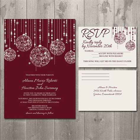 christmas sparkle wedding invitation suite diy printable