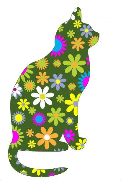 funky retro floral cat  stock photo public domain