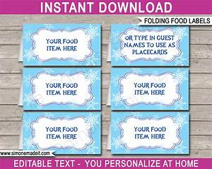 frozen party food labels place cards winter theme With food labels for party template
