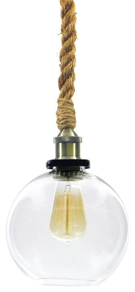 globe shade rope pendant antique brass  glass beach