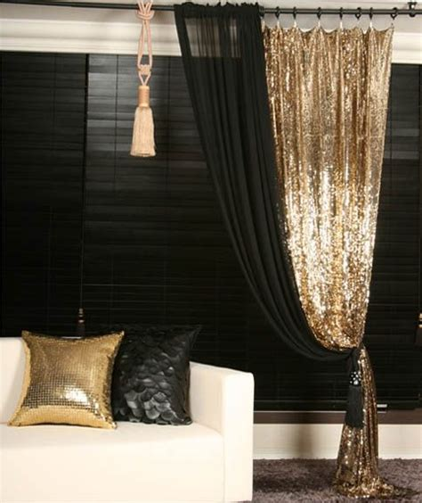 black and gold drapes gold sequins beaded curtain drapery panel room divider