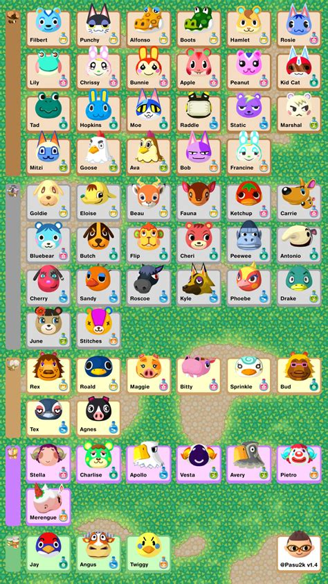 animal crossing pocket camp phone sized reference sheet