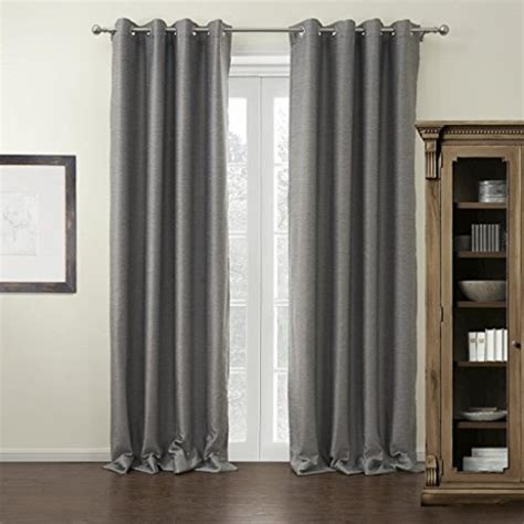 twopages modern grey solid grommet top blackout curtain