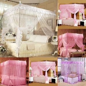 bedroom  corner post mosquito net bed canopy curtain pink
