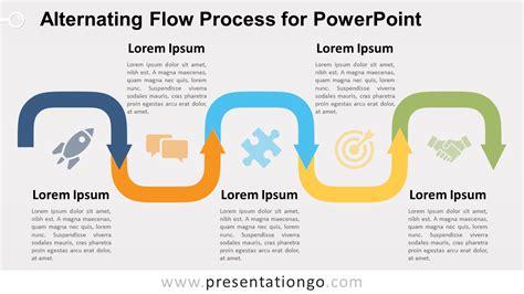 alternating flow process diagram  powerpoint