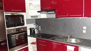 nouvelle cuisine rouge et grise photo 1 5 3522194 With cuisine rouge et grise