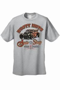 "MEN'S T-SHIRT ""RUSTY NUTS AUTO SHOP"" USED PARTS CAR ..."