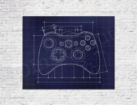 video game controller blueprint game poster gamer wall