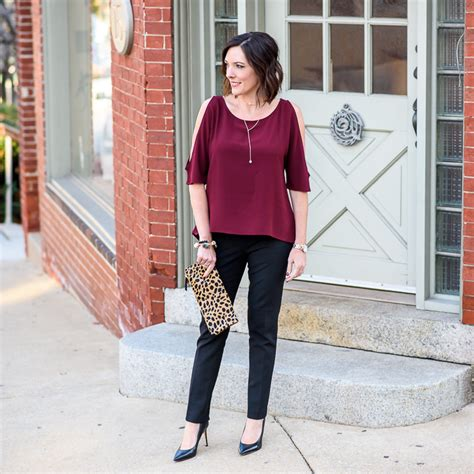 christmas party trousers with cold shoulder top