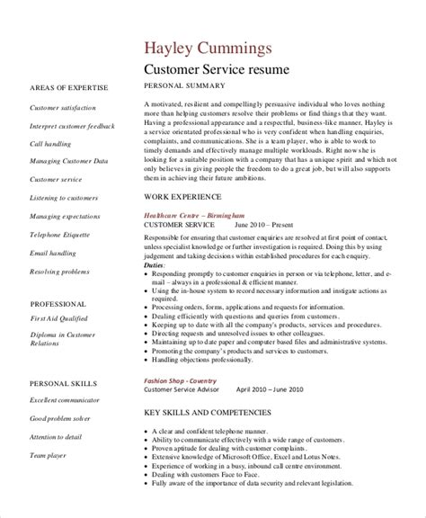 Exle Of Customer Service Resume by Sle Healthcare Resume 7 Exles In Word Pdf