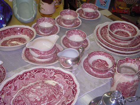Antique China!! By Mason's!! Vista Pattern!! In...red