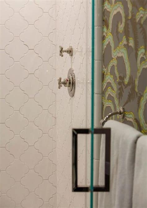 large white arabesque shower tiles transitional bathroom
