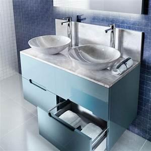 le meuble salle de bain a double vasque convient a une With meuble salle de bain double vasque bleu