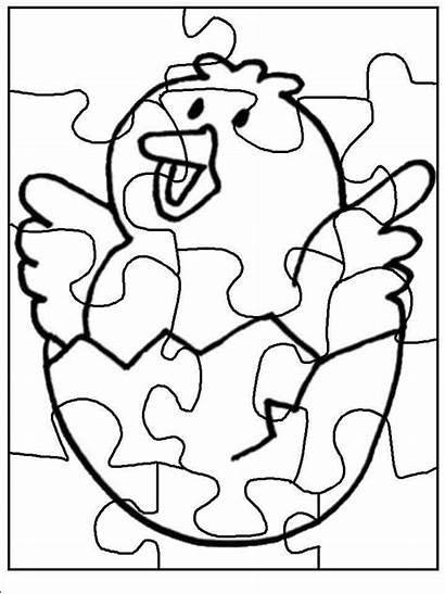 Coloring Puzzle Chick Piece Donut Preschool Easy