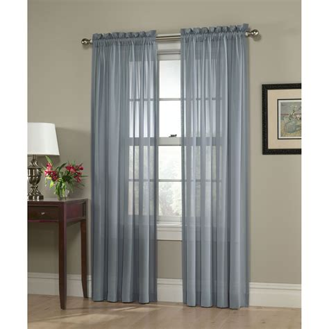 Smith Curtains Drapes - smith slate blue georgette semi sheer window panel