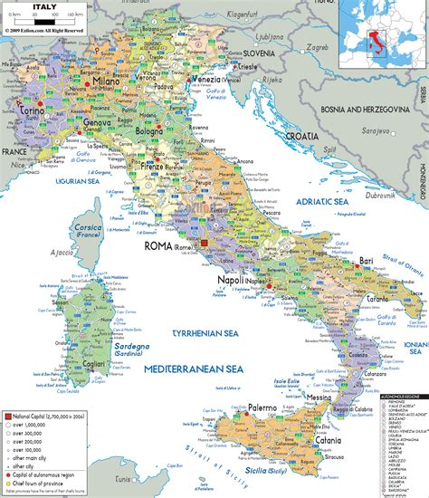 political map  italy ezilon maps