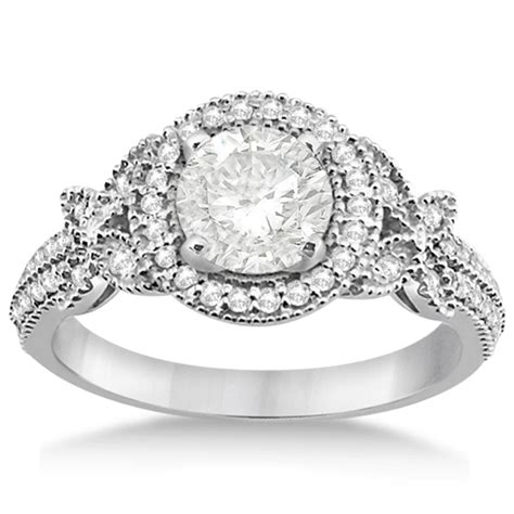 Butterfly Diamond Engagement Ring & Wedding Band Palladium