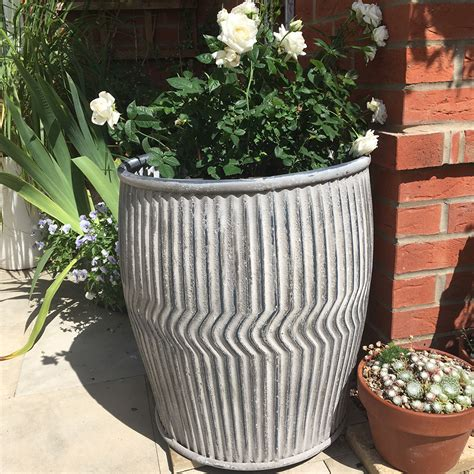 large zinc plant pot holder  garden dolly tub candle
