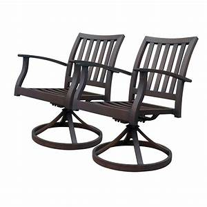 Shop allen roth set of 2 gatewood brown slat seat for Swivel patio dining chairs