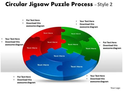 circular jigsaw diagram puzzle process style flow  powerpoint  pictures