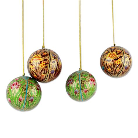 unicef christmas ornaments unicef market set of 4 handmade floral ornaments from india delights