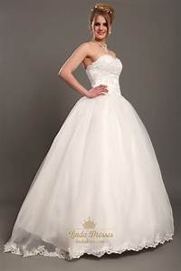 ivory lace bodice organza skirt sweetheart wedding dresses With wedding dresses without trains