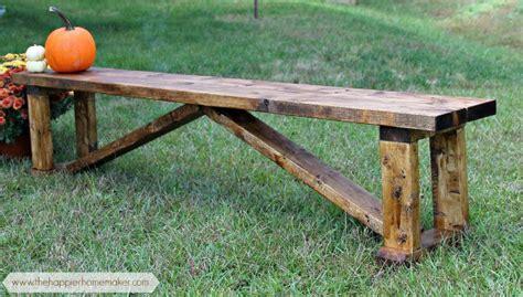 rustic  diy bench  happier homemaker