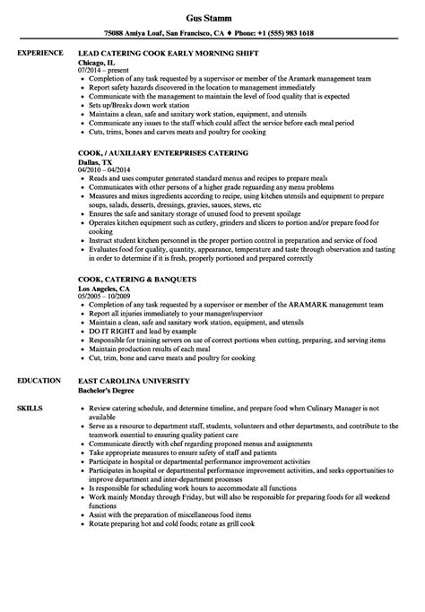 Cook Experience Resume by Catering Cook Resume Sles Velvet